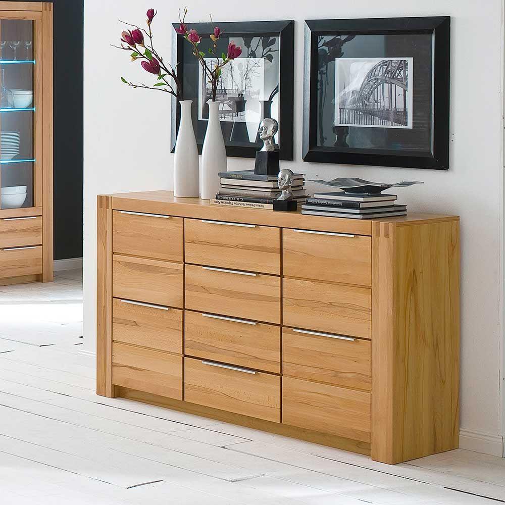 kernbuche sideboard mit schubladen teilmassiv sideboard wohnzimmerschrank kommode sidebord. Black Bedroom Furniture Sets. Home Design Ideas