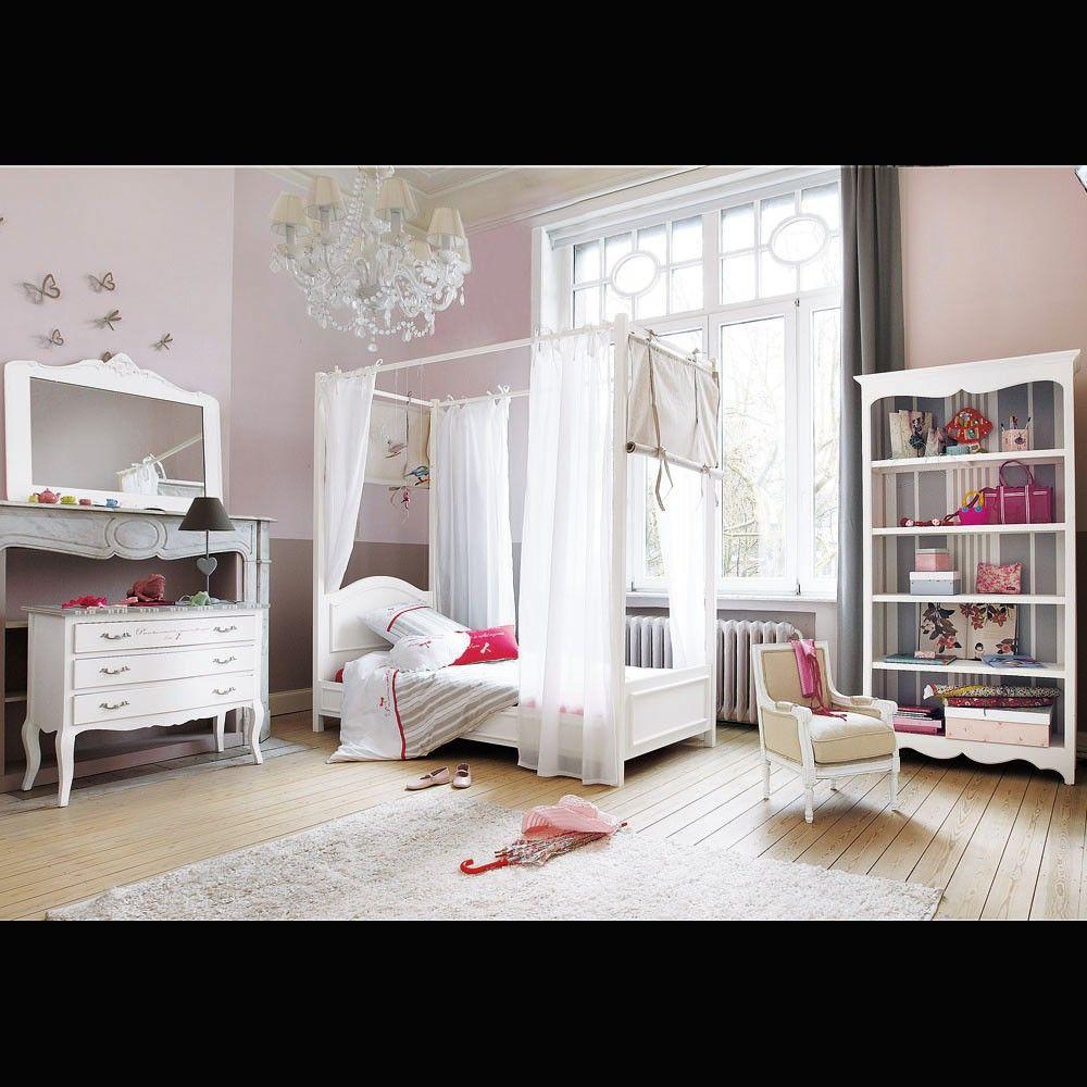 Letto bianco a baldacchino in legno 90 x 190 cm nel 2019 - Letto baldacchino bambina ...