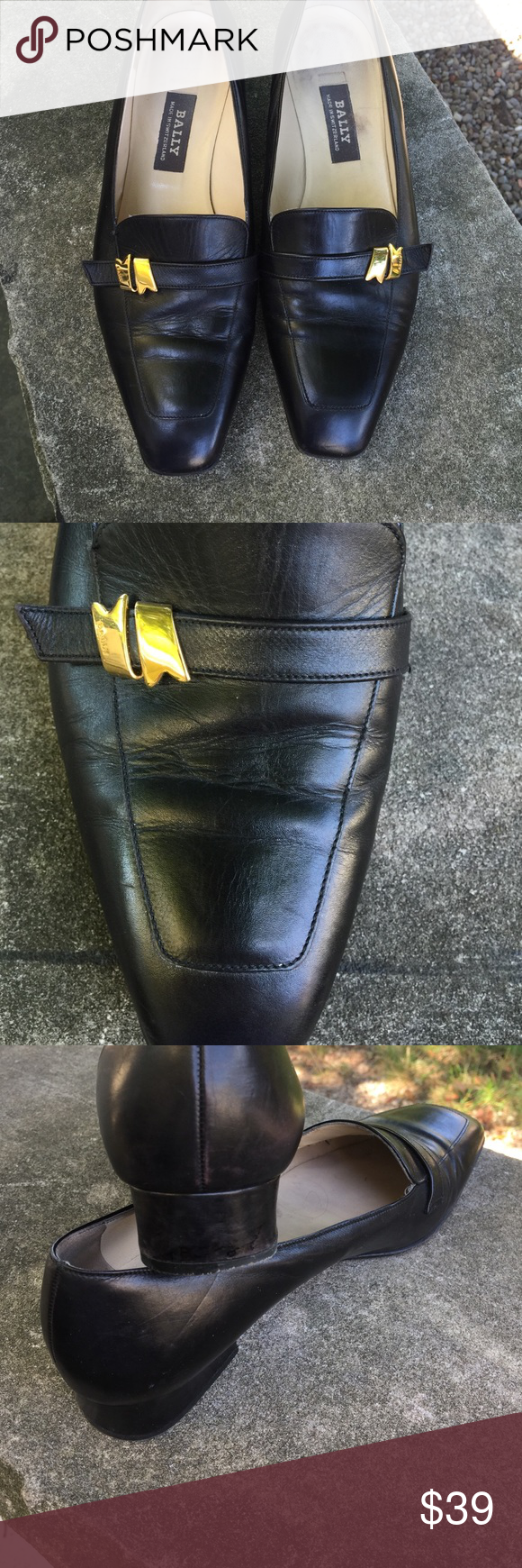 Bally Loafers Bally of Switzerland classic black leather loafer. In excellent condition. Purchased in Zurich. European size 5. US size 7.5. Note: photo 4 is a similar loafer that was on Instagram; it is not a photo of the Bally loafer I'm selling Bally of Switzerland Shoes Flats & Loafers