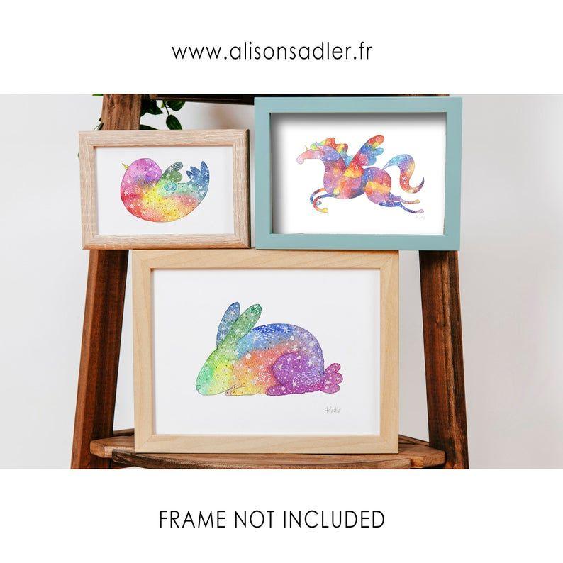 Rainbow Rabbit Art Watercolor Art Print Alison Sadler S