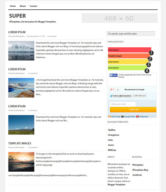 This free minimal Blogger template features a two column ...
