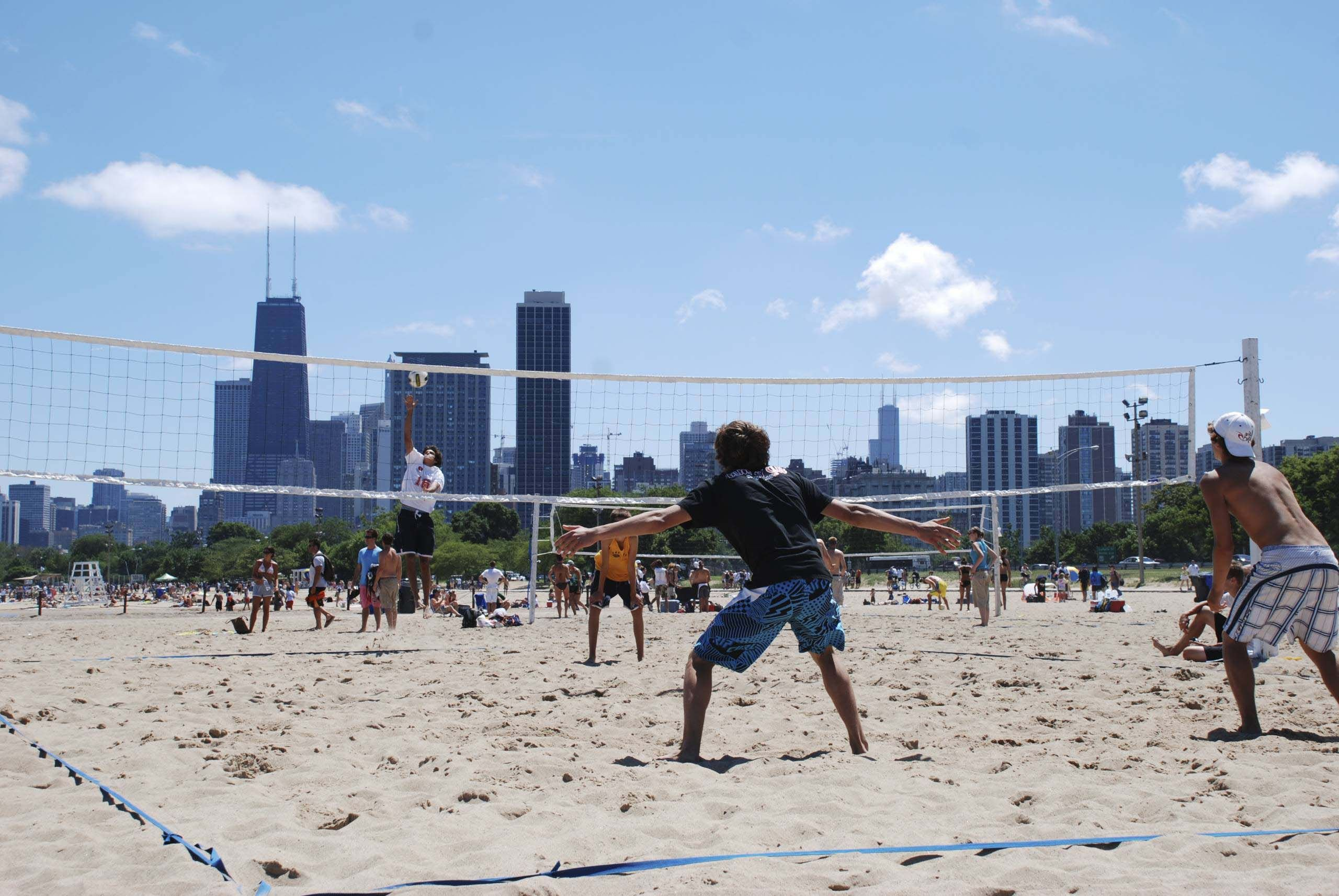 Oak Street Beach Volley Ball Summer Bucket Volley New York Skyline