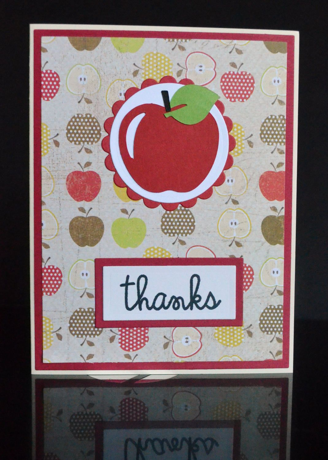 Handmade Thank You Card For Teachers With Apple Theme Handmade