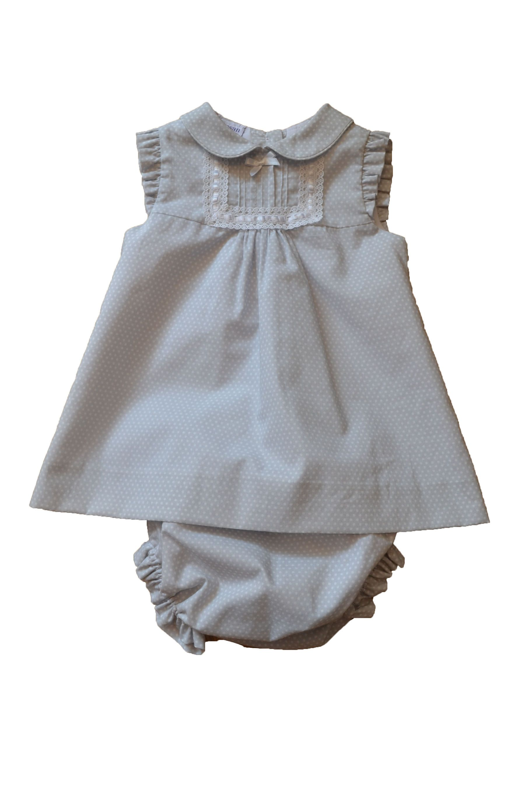 COSAN BABY LIGHT GREY DRESS & MATCHING NAPPYCOVER WITH WHITE DOTS