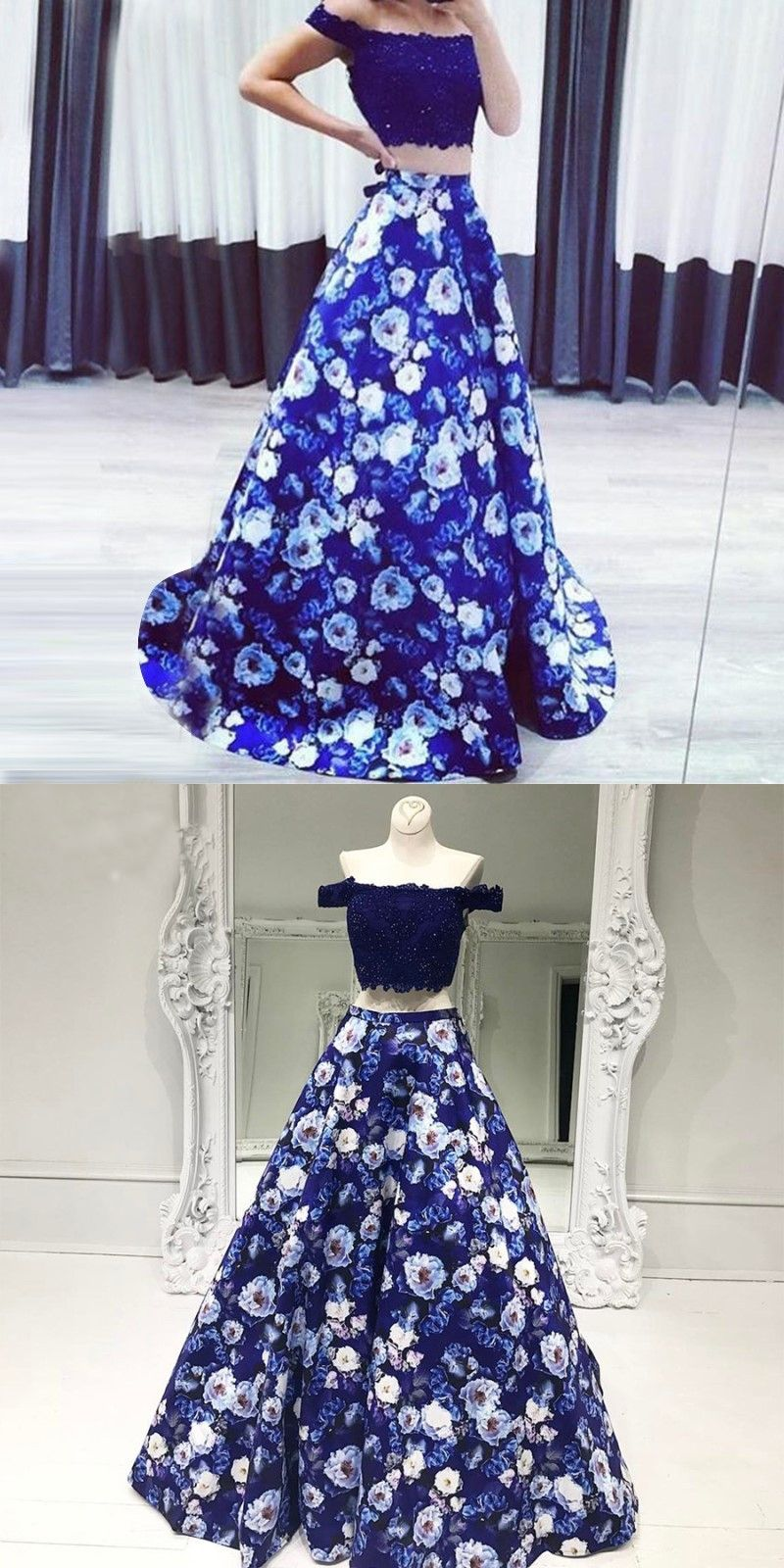 98c715688bb Two Piece Off-the-Shoulder Floral Navy Blue Satin Prom Dress with ...
