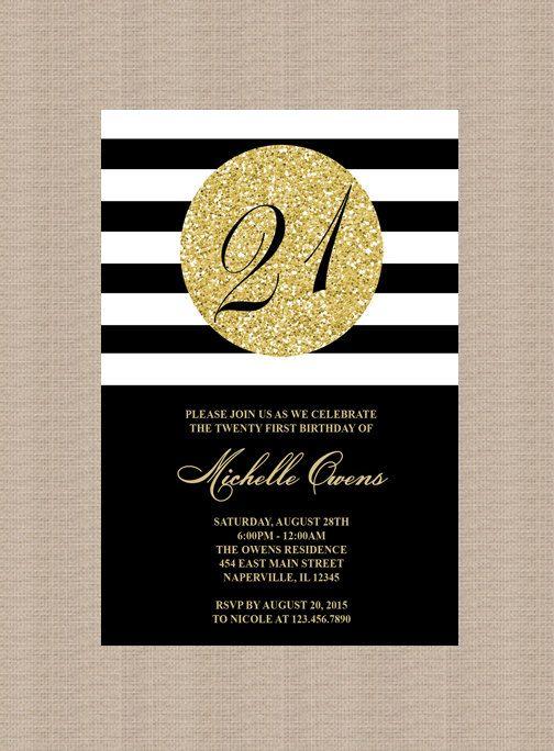 Gold 21st Birthday Party Invitation Black And White Stripes