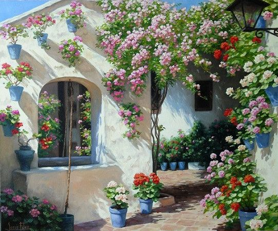Que Belleza Paisajes Flores Pintura De Jardín Paisajes