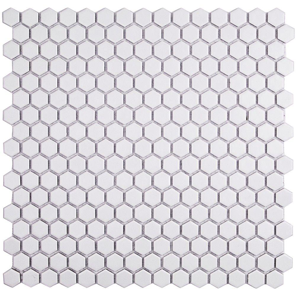 Ivy Hill Tile Bliss Hexagon White Matte Ceramic Mosaic Floor And