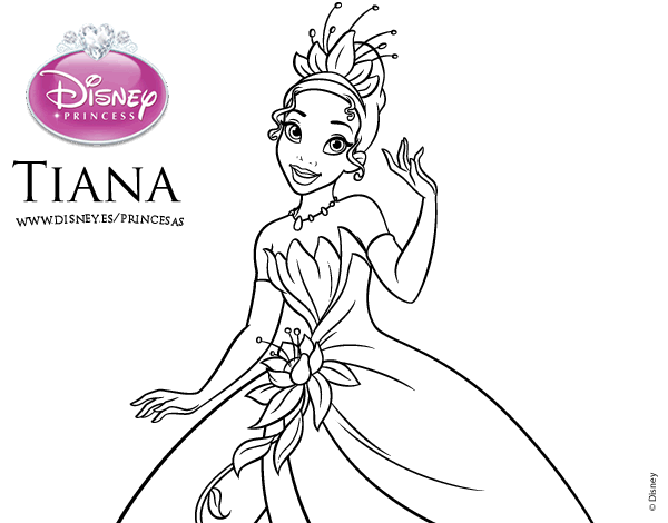 Dibujos Para Colorear De Las Princesas Disney: Princesa Tiana Para Colorear