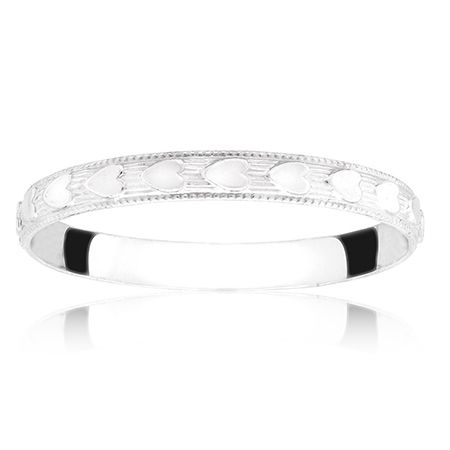 Children's Heart Patterned Sterling Silver Band. I have this as a backup wedding band when my wedding set is at the jeweler. It is truly too cute!