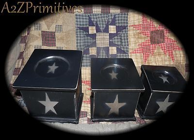 Primitive Country Wood Canister Set★Black Distressed w/Stars