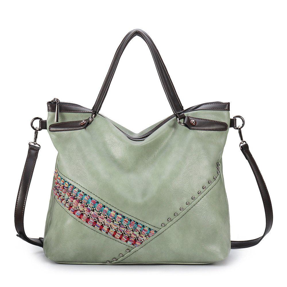 36a610555a85f Women Bohemian PU Leather Handbag Large Capacity Tote Bag National  Crossbody Bag