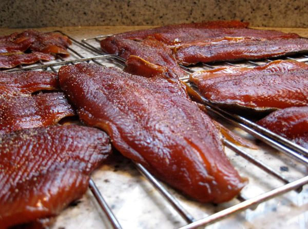 Brined jack coho filets ready for the smoker going for Smoke fish brine