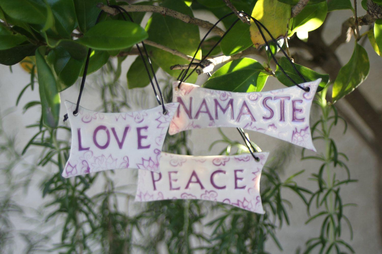 Peace Love Namaste Sign Set Ceramic Hanging Sign Greeting Sign