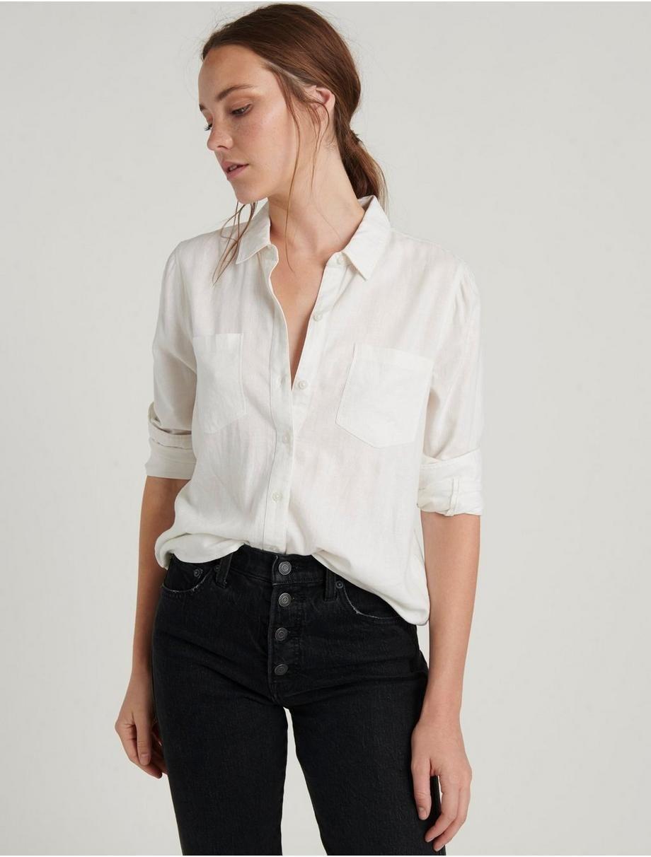 Ashley Button Down Shirt Lucky White Women S Button Down Shirt Shirt Outfit Women Linen Shirt Outfit [ 1212 x 920 Pixel ]
