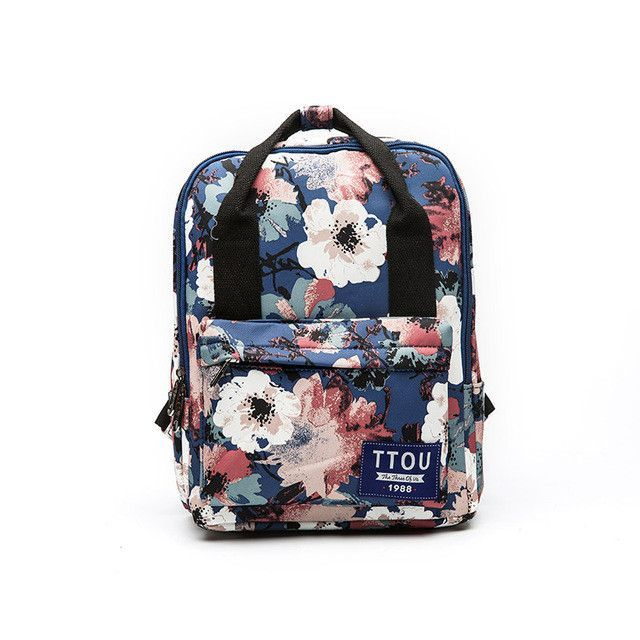 4d5d6873c1 TTOU Flower Canvas Backpack Women College Preppy School Bags For Teenagers Girls  Large Capacity Printing Rucksack Travel Bags