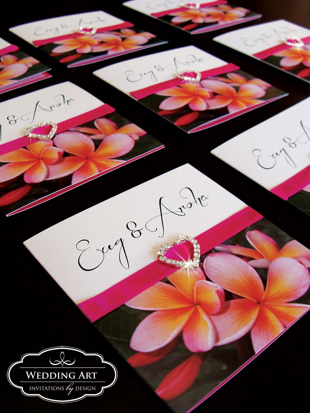 Pink Frangipani Wedding invitation with satin ribbon a heart ...