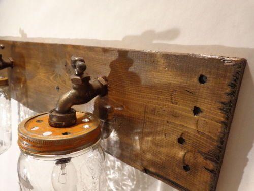 Mason Jar Vanity Light Fixture Country Primitive Rustic