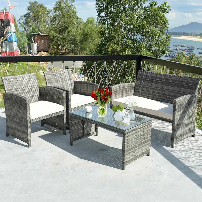 Heartwell 4 Piece Rattan Sofa Seating Group With Cushions Rattan Patio Furniture Outdoor Patio Furniture Sets Rattan Furniture Set