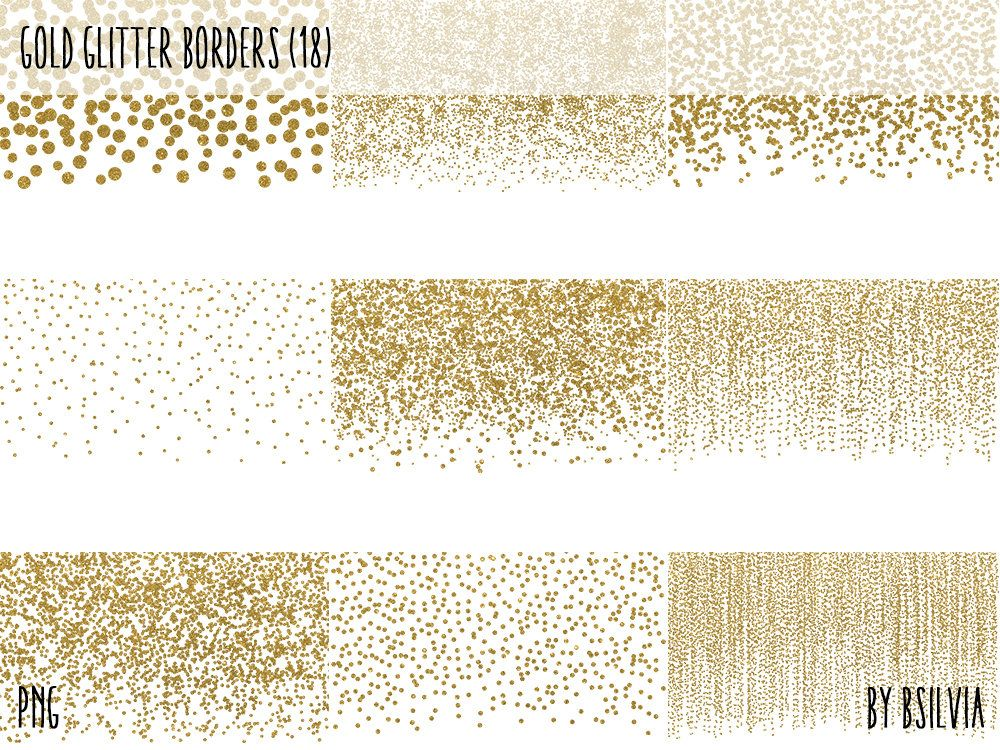Gold Glitter Confetti Borders Pack, Digital Gold Confetti