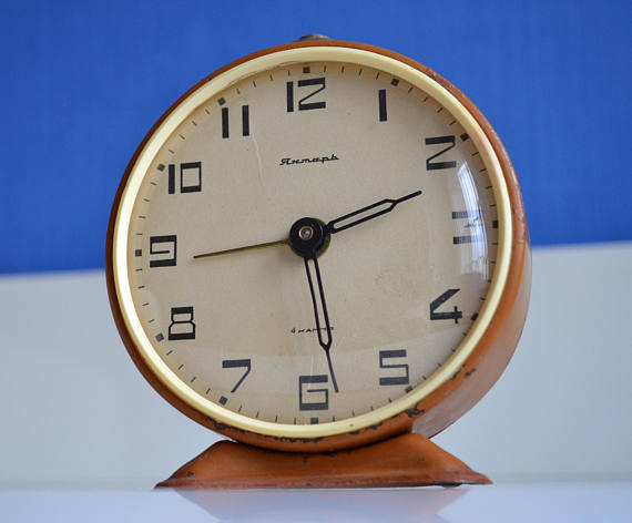 Large Alarm Clock Chocolate Brown Vintage Clock Wind Up Soviet