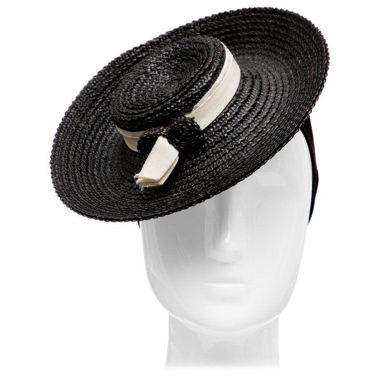 b94dba52452249 1stdibs Raffia Tilt Circa: 1930 Hat, Black in 2019 | Products ...