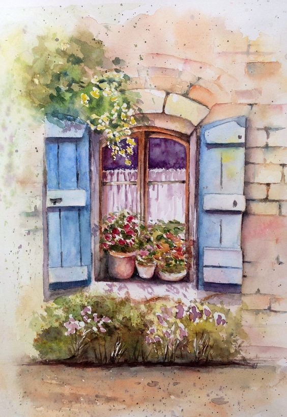Old Window Watercolor On Paper By Mahjabin Gg Watercolor