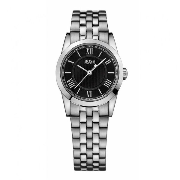 4f0874826ba41b Hugo Boss Womens Silver Roman Numeral Round Black Face Watch | kyk ...