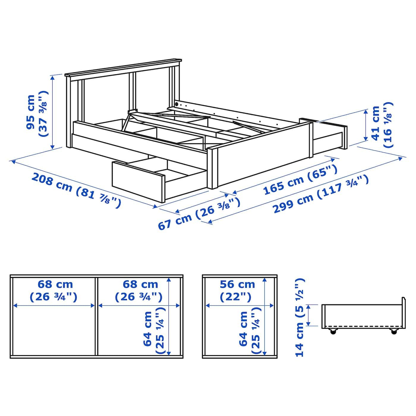 SONGESAND Bed frame with 4 storage boxes white in 2020