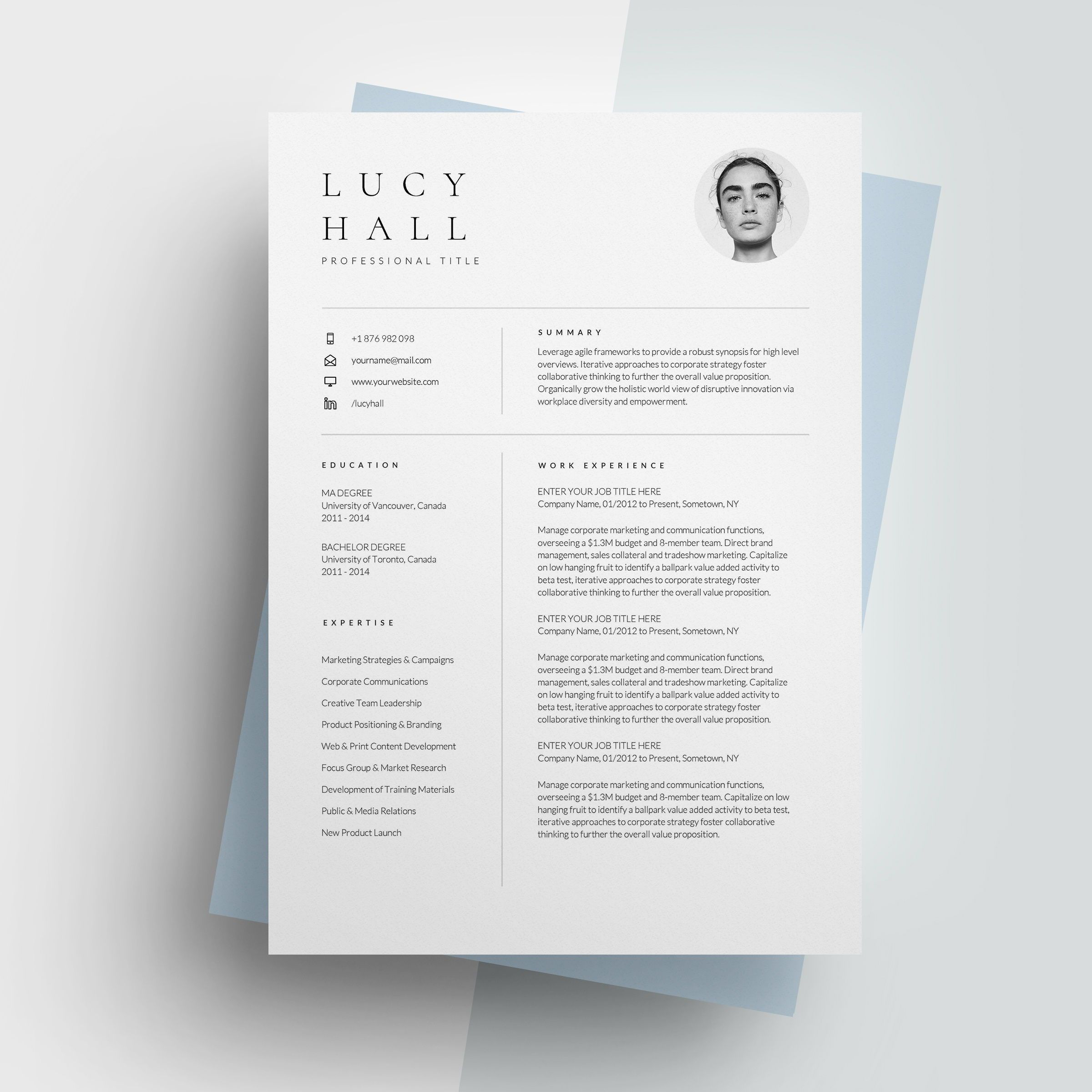 Modern Resume Template, Professional Resume for Word
