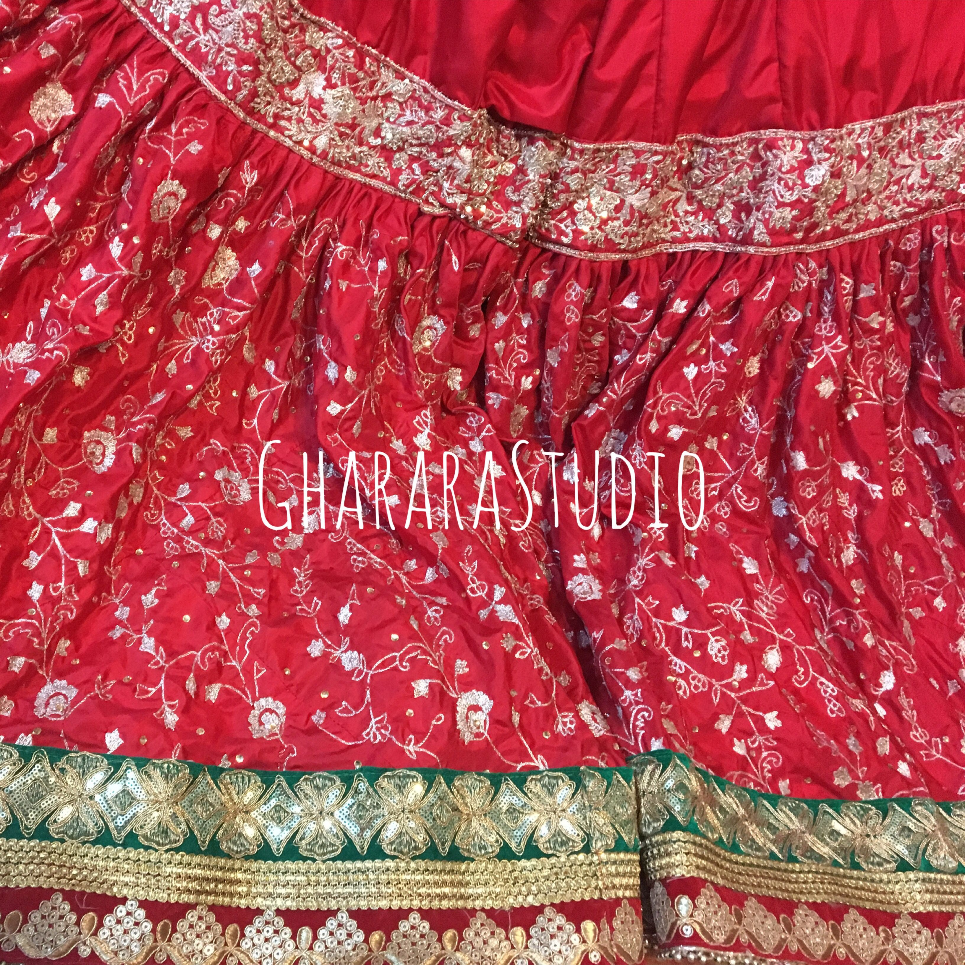 7859531cb1 Gharara in red silk with zari zardozi handwork embroidery all over.  WhatsApp at +919971865919 to order Deliver complete stitched to your size  Deliver ...