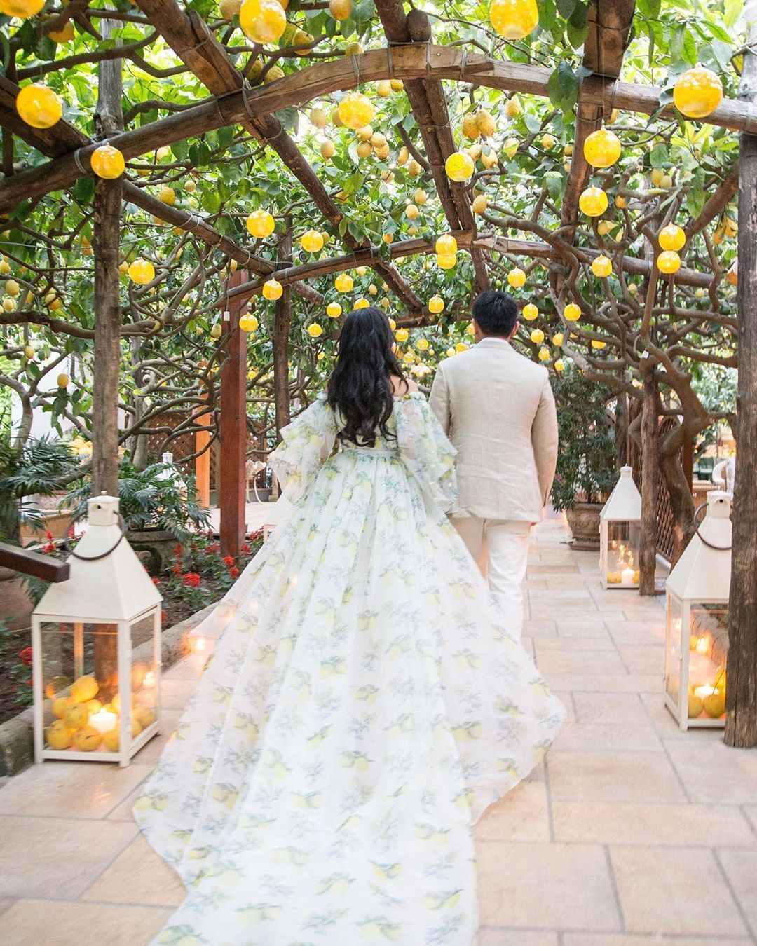 Vogue Weddings On Instagram It Was All In The Citrus Y Details For This Bride And Groom Seen Heading To Their Italian Wedding Dresses Wedding Vogue Wedding