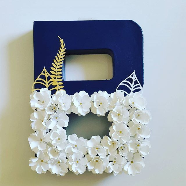 Floral Letter B Shipped Out For A June Wedding. Navy Blue
