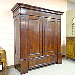 19th Century German Antique Mahogany Armoire