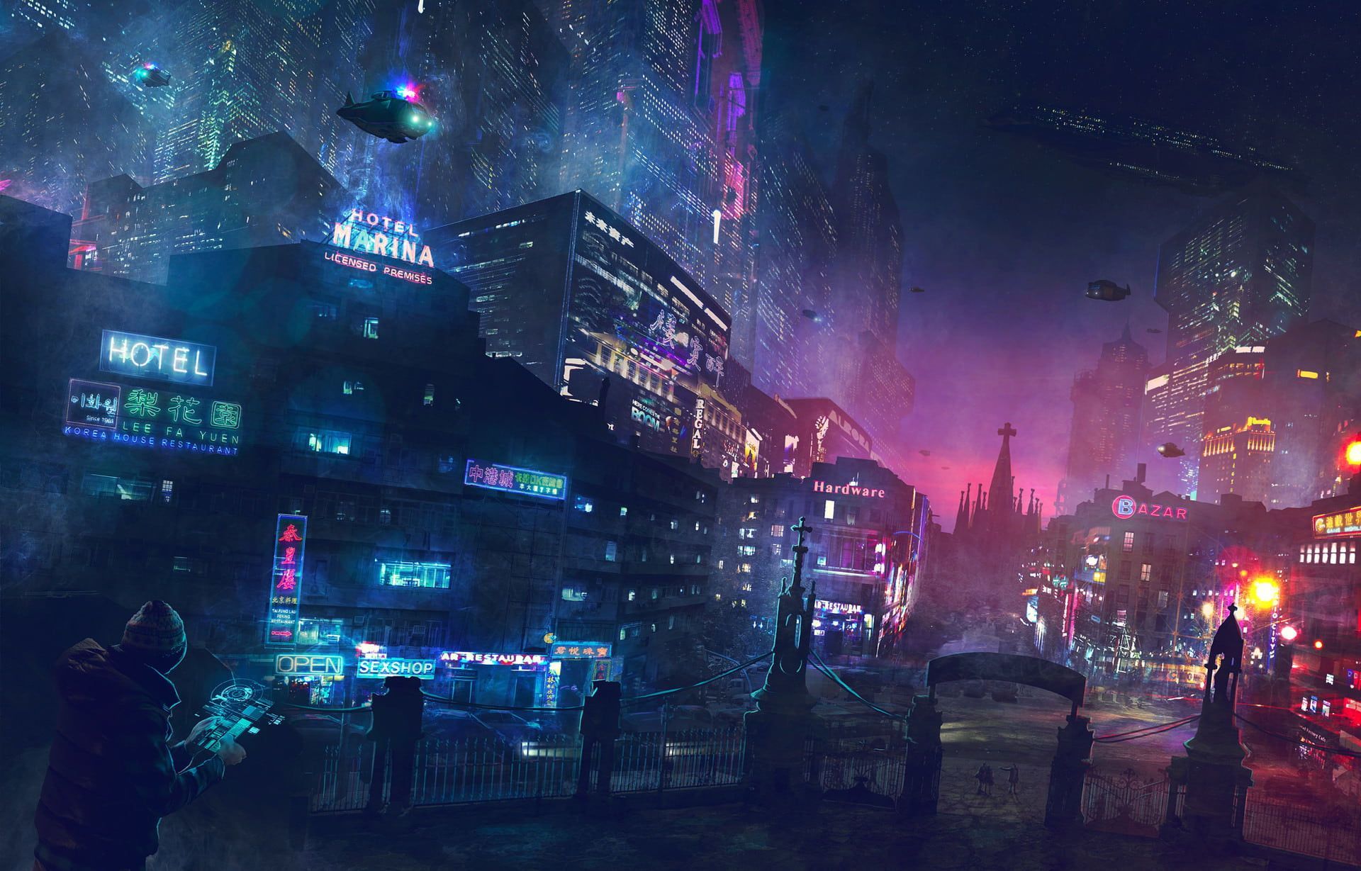 Futuristic Wallpaper City Science Fiction Cyberpunk Neon Hovercraft Cathedral Hotel Police 1080p Wallpaper Cyberpunk City Futuristic City Sci Fi City