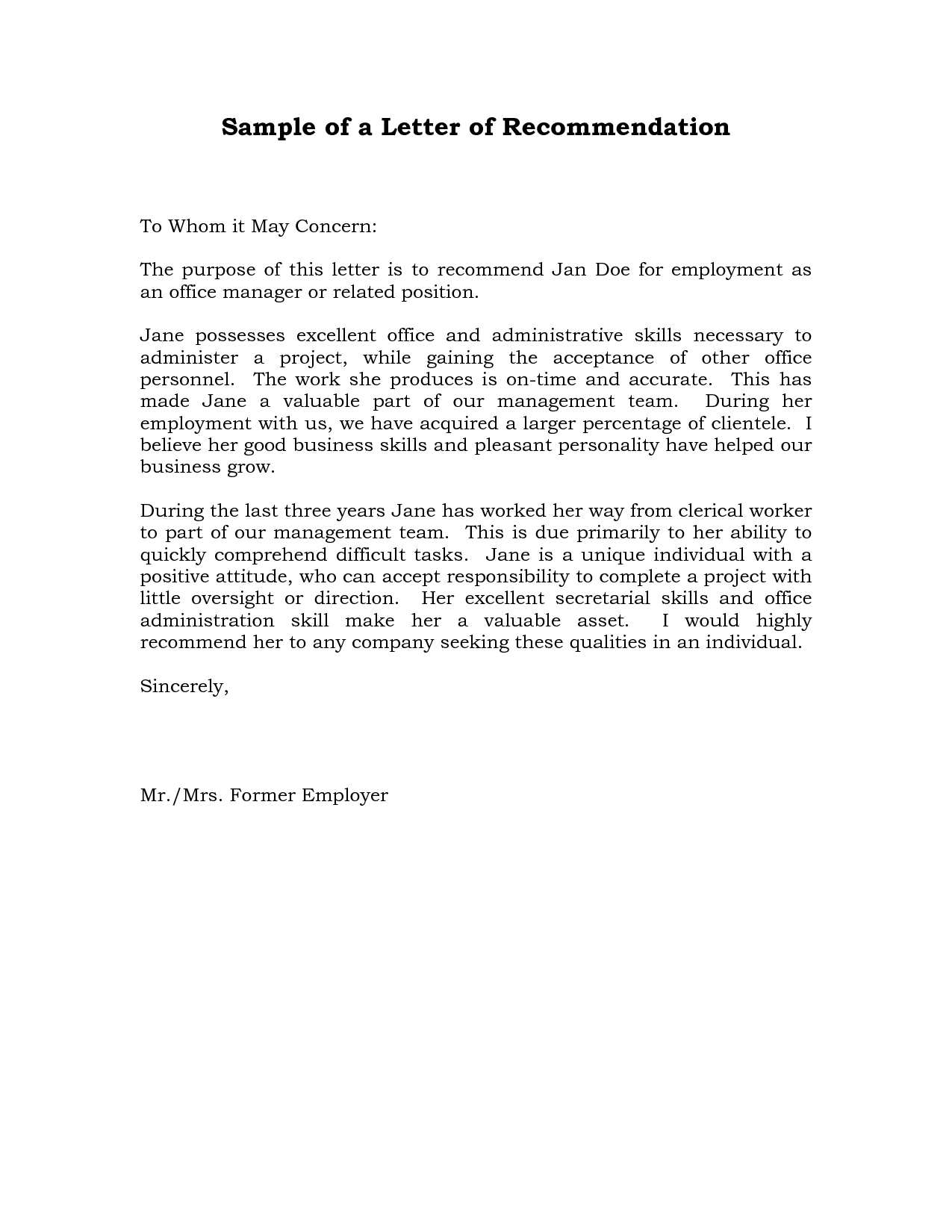Reference Letter of Recommendation Sample – Template for a Reference for an Employee