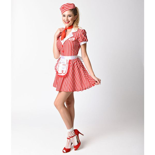 9b06ecb9fa52 1950s Style Red & White Striped Diner Doll Car Hop Costume ($41) ❤ liked on  Polyvore featuring costumes, white halloween costumes, babydoll costume, ...