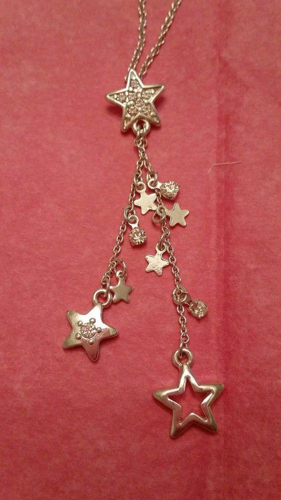Silver tone star rhinestone necklace marked shb shb pendant silver fashion necklaces pendants ebay aloadofball Image collections
