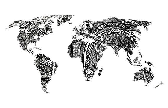Design world map art print black and white drawing prints world design world map art print black and white drawing by westridgeart gumiabroncs Image collections