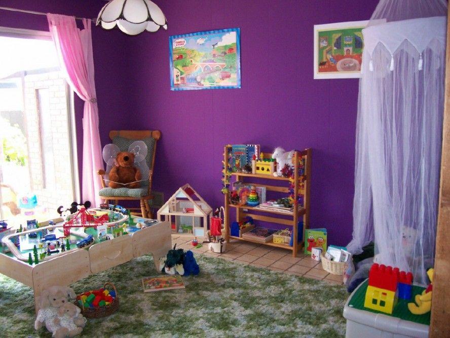 pretty purple kids playroom interior design ideas pink curtain