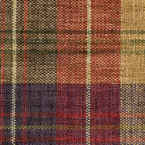 Clan Chenille Damson Red And Camel Woven Chenille Plaid Fabric - Chenille upholstery fabric