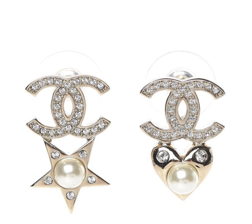 Chanel Star Earrings With Faux Pearl Stamp On Back As Seen On Pictures Luxury Earrings Chanel Earrings Crystal Pearls