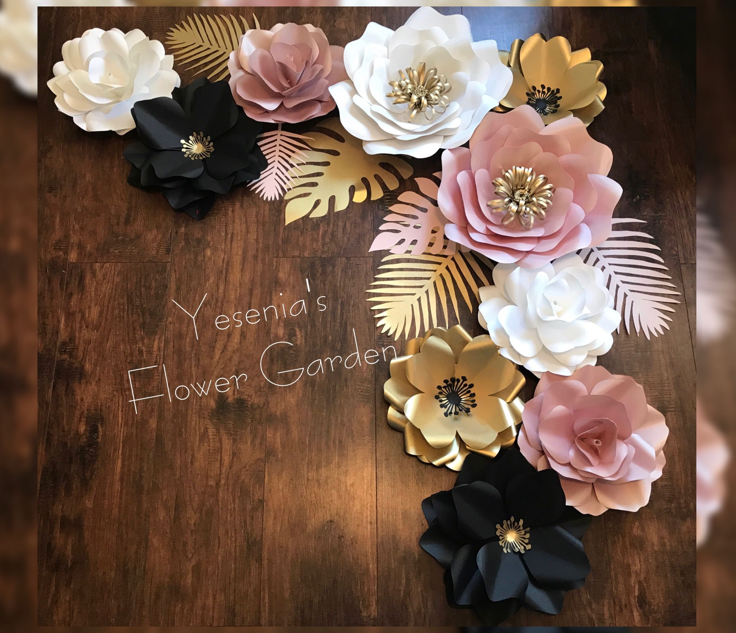Rose gold, gold, black and white paper flowers with tropical leafs | White  paper flowers, Paper flowers, Rose gold paper