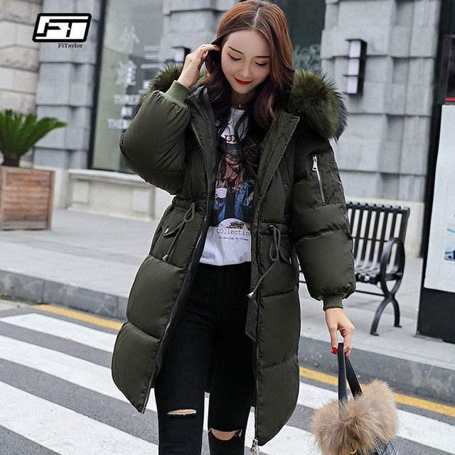 987f67271f2 Fitaylor New Winter Women Cotton Jacket Coat Hooded Warm Large Fur Collar  Long Snow Parkas Female