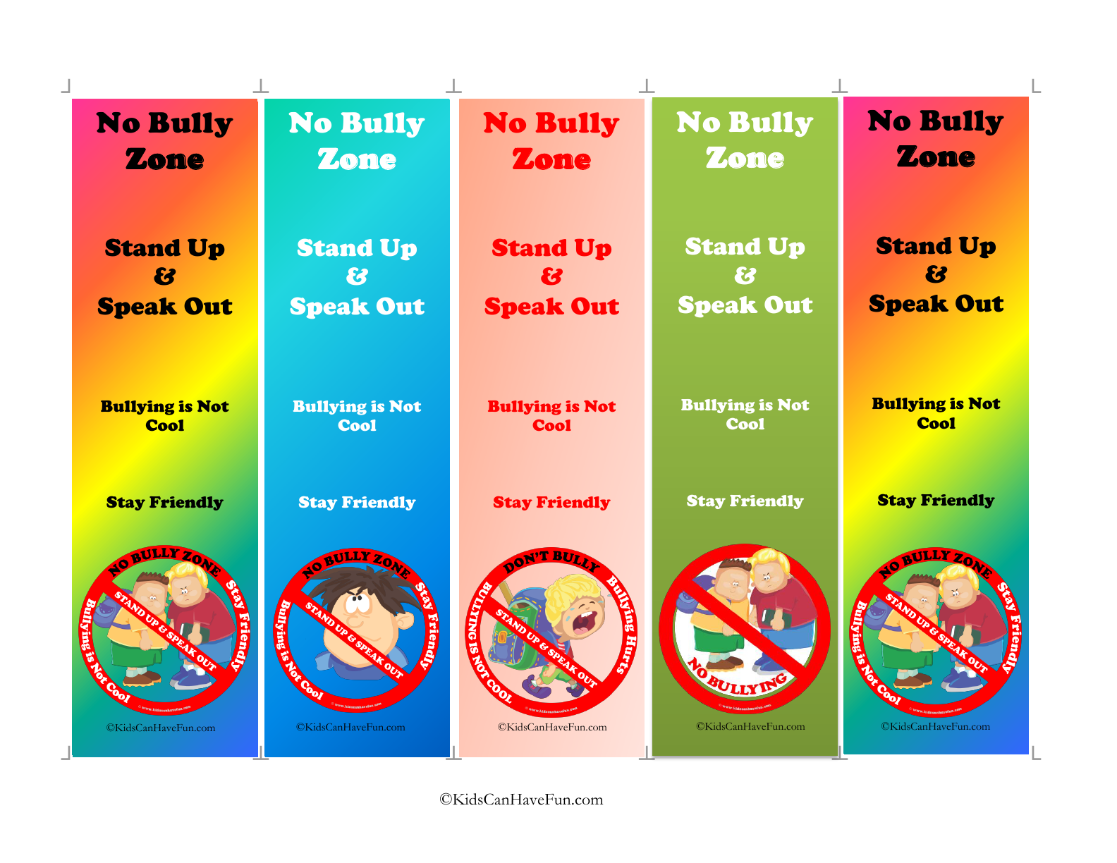 Make Your Opinions Of Bullying Clear By Handing This Book Marks Out To Your Students