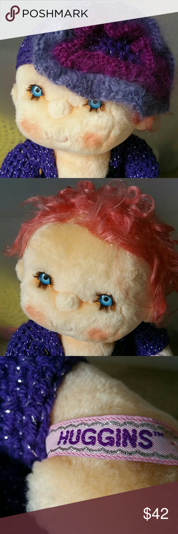 1980's Hugga Bunch Kenner Plush Soft Babies I ACCEPT OFFERS! I NEVER DECLINE OFFERS! I ACCEPT OR COUNTER ONLY!   1985 Huggins Doll.....  Hugga Bunch Kenner Plush Soft Babies... Vintage Collectable Babies  Name: Huggins  18 inches  Pink Hair and Blue eyes  Clothing crocheted  by me. Other