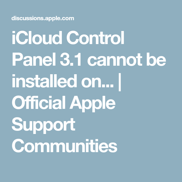 iCloud Control Panel 3 1 cannot be installed on