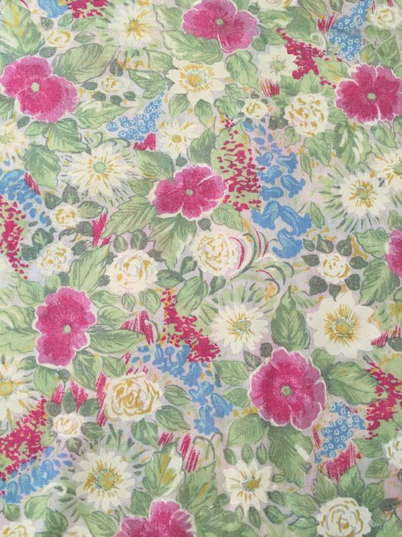 Calico Cotton Small Flowers Pink /& Blue Fabric By The Yard