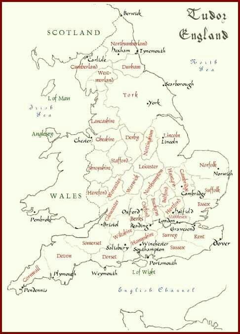 Map Of England Henry Viii.Tudor England Map Tudor History Tudor History