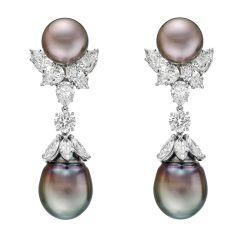 Tahitian Pearl & Diamond Pendant Earrings